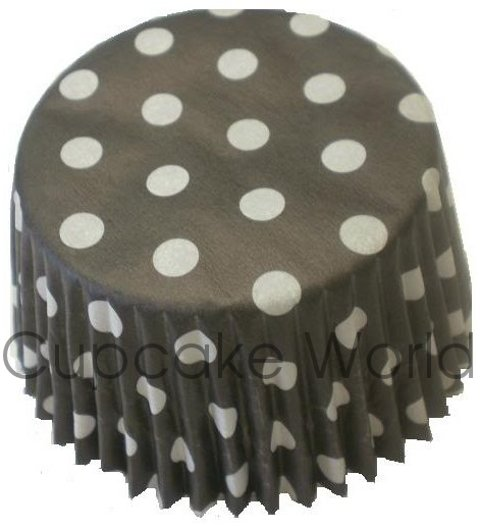 50PC BLACK POLKA DOTS PAPER MUFFIN CUPCAKE CASES AUST. MADE